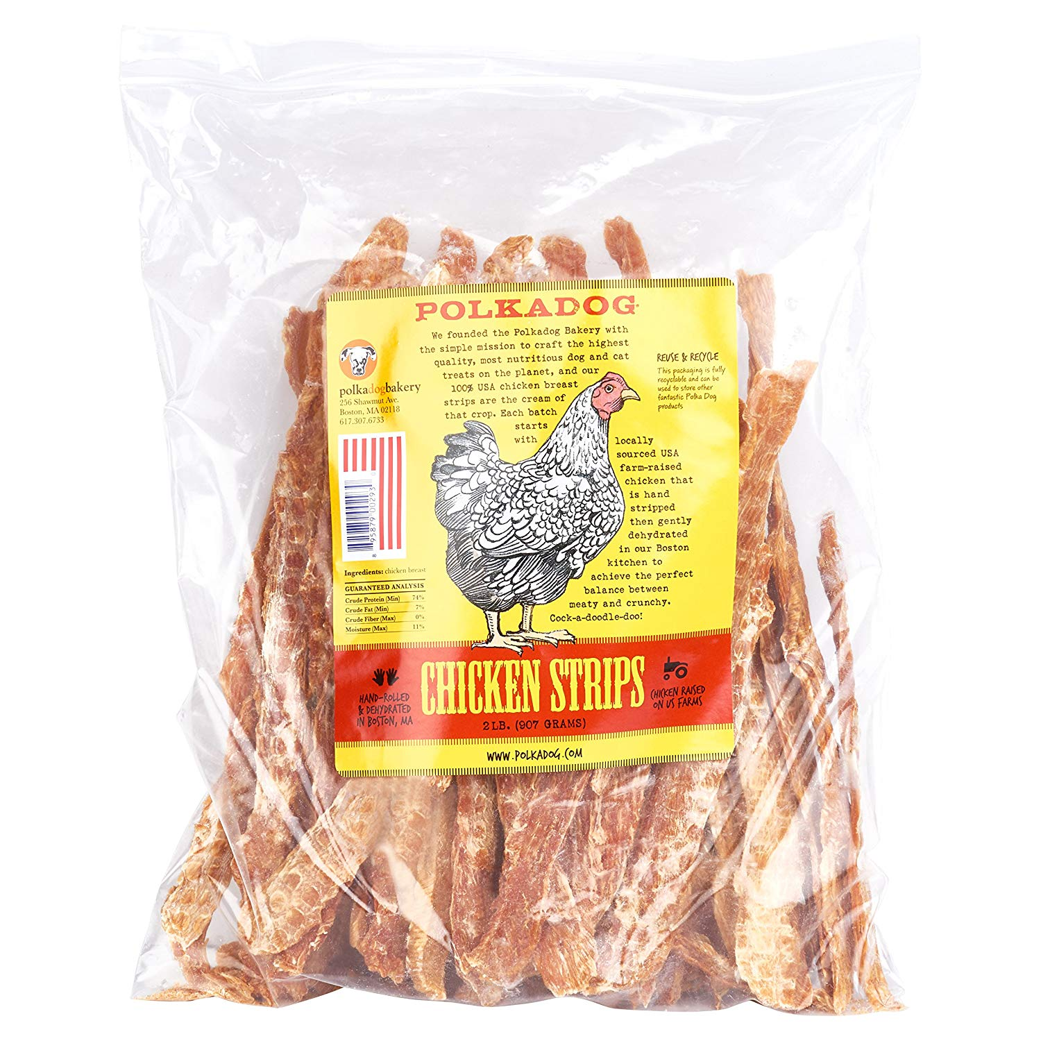 Polka Dog Bakery Chicken Strip Jerky Dog Treat, 2-Pound