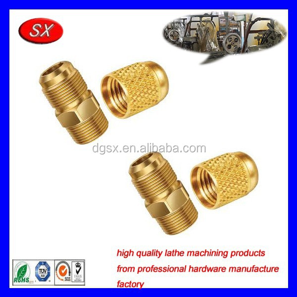 OEM brass knurled nut lathe part,alpha/yellow brass connecting part,custom lathe machining brass fittings