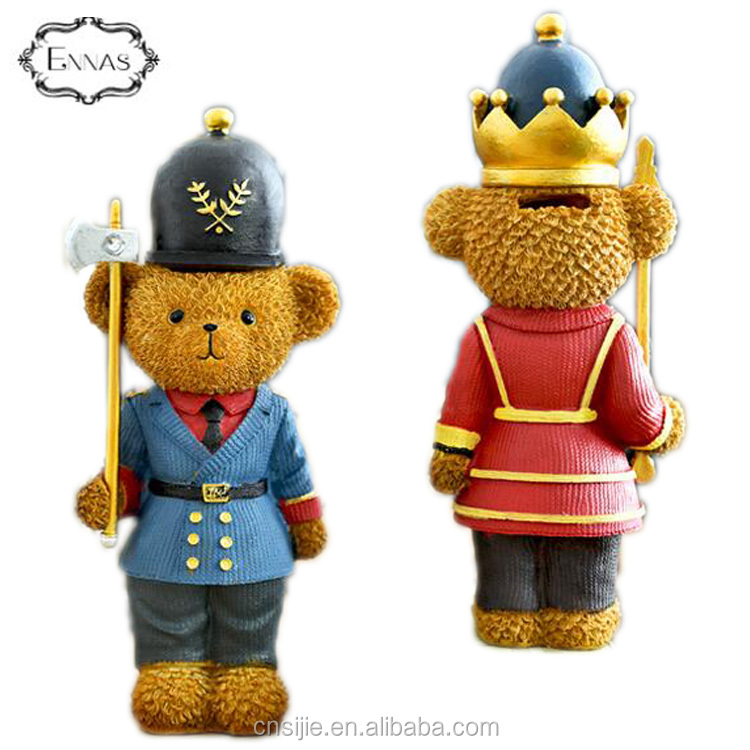 Custom polyresin Christmas bear nutcracker soldier coin bank for Christmas
