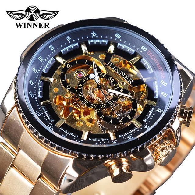 Winner Top Brand Luxury Men Mechanical Watch Golden Stainless Steel Strap Skeleton Dial Luminous Skull Design Wrist Watch фото