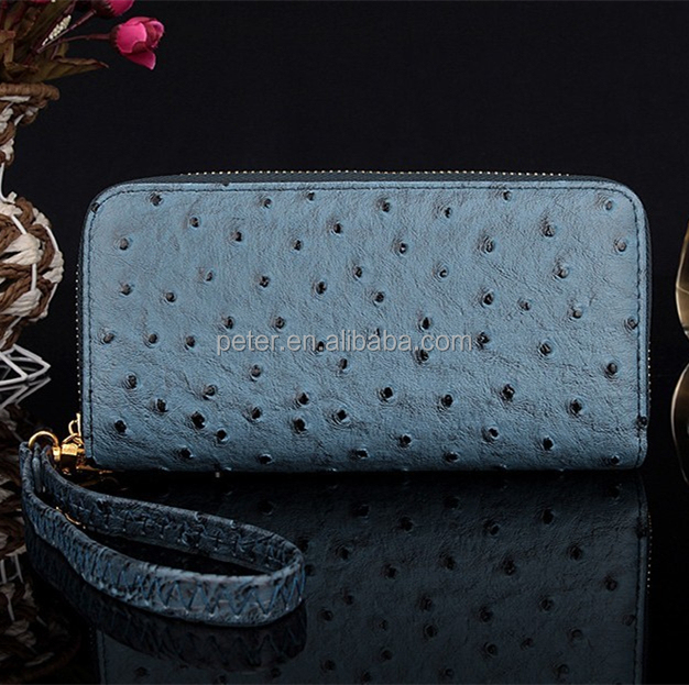 lady women purse long zip wallet handbag phone bags quality PU ostrich leather wallet
