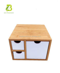Home decoration bamboo storage box with three drawers