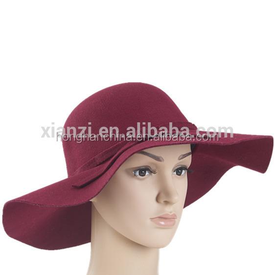 Women s Sun Hats Soft Vintage Wide Brim Wool Felt Bowler Fedora Hat Floppy  Summer Style Lady 80e9e296479