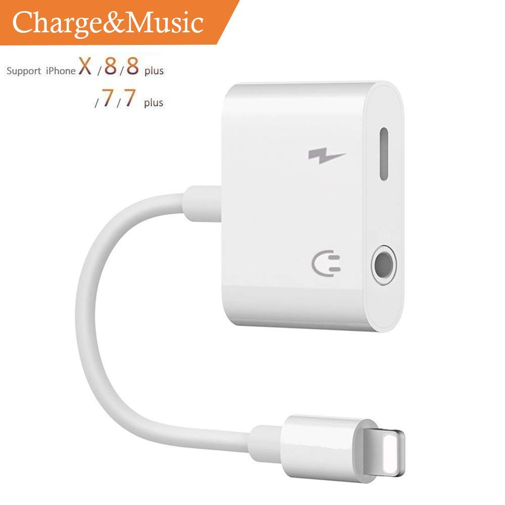 Double Headphone Jack Adapter, Jackiey 2 in 1 Audio Charger Adapter Compatible Phone X 8 7 6 Plus Splitter Headphone Jack 3.5mm Headphone Audio 2A Quick Charge Earphones Splitter-Compatible iOS11