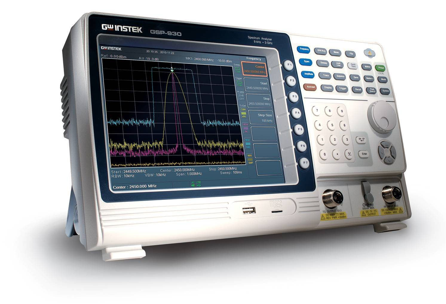 GW Instek GSP-930 Color Display Spectrum Analyzer, 9KHz to 3GHz Frequency