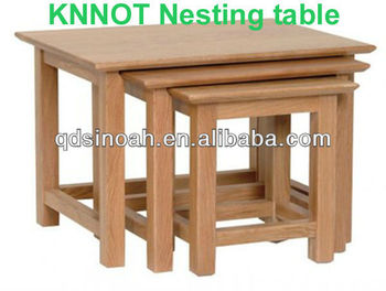 Solid Oak Nesting Table/coffee Table/wooden Furniture