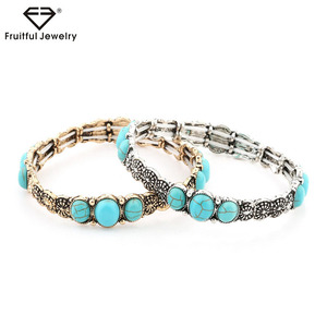 2017 Large supply New Retro Bohemia Multiple Turquoise Bracelet zinc alloy classics bangles whosale hand chain