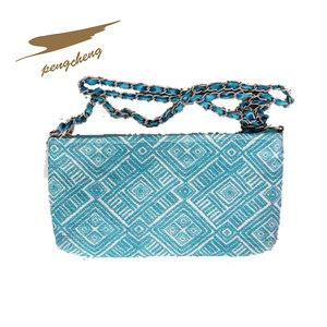 Wholesale extra large rope handle polyester fancy acrylic clutch bag handbags