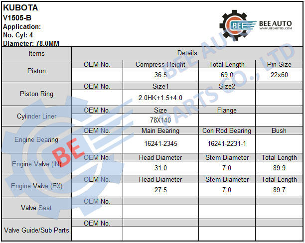 Kubota V1505-t Diesel Engine Parts Piston - Buy Kubota V1505-t  Piston,Kubota V1505,Kubota V1505 Engine Product on Alibaba com