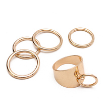 5 Pcs/Set Punk Wide Thin Band Finger Rings Set Gold Color for Women Set Fashion Jewelry Simple Metal Knuckle Ring