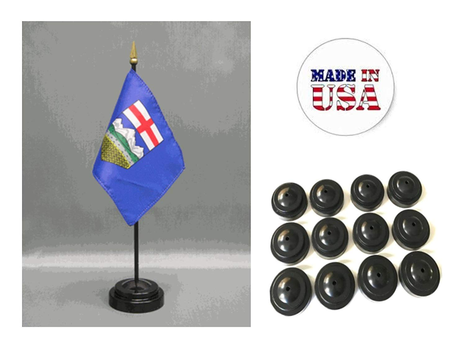 """Made in the USA!! Box of 12 Alberta 4""""x6"""" Miniature Desk & Table Flags Includes 12 Flag Stands & 12 Canada Albertan Small Mini Stick Flags"""