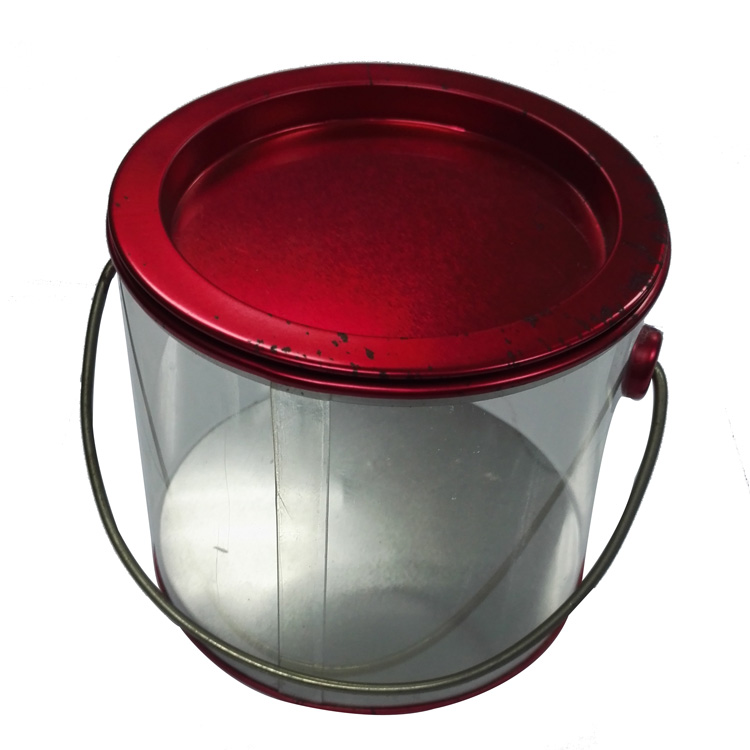 Christmas Clear Cookie Tin Box, Clear Cookie Tin Bucket, Clear Cookie Tin Pail