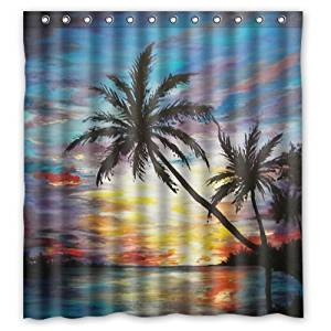 """66""""(w) x 72""""(h) Tropical Beach Sunset Palm Trees Painting Theme Painting 100% Polyester Bathroom Shower Curtain Shower Rings Included"""