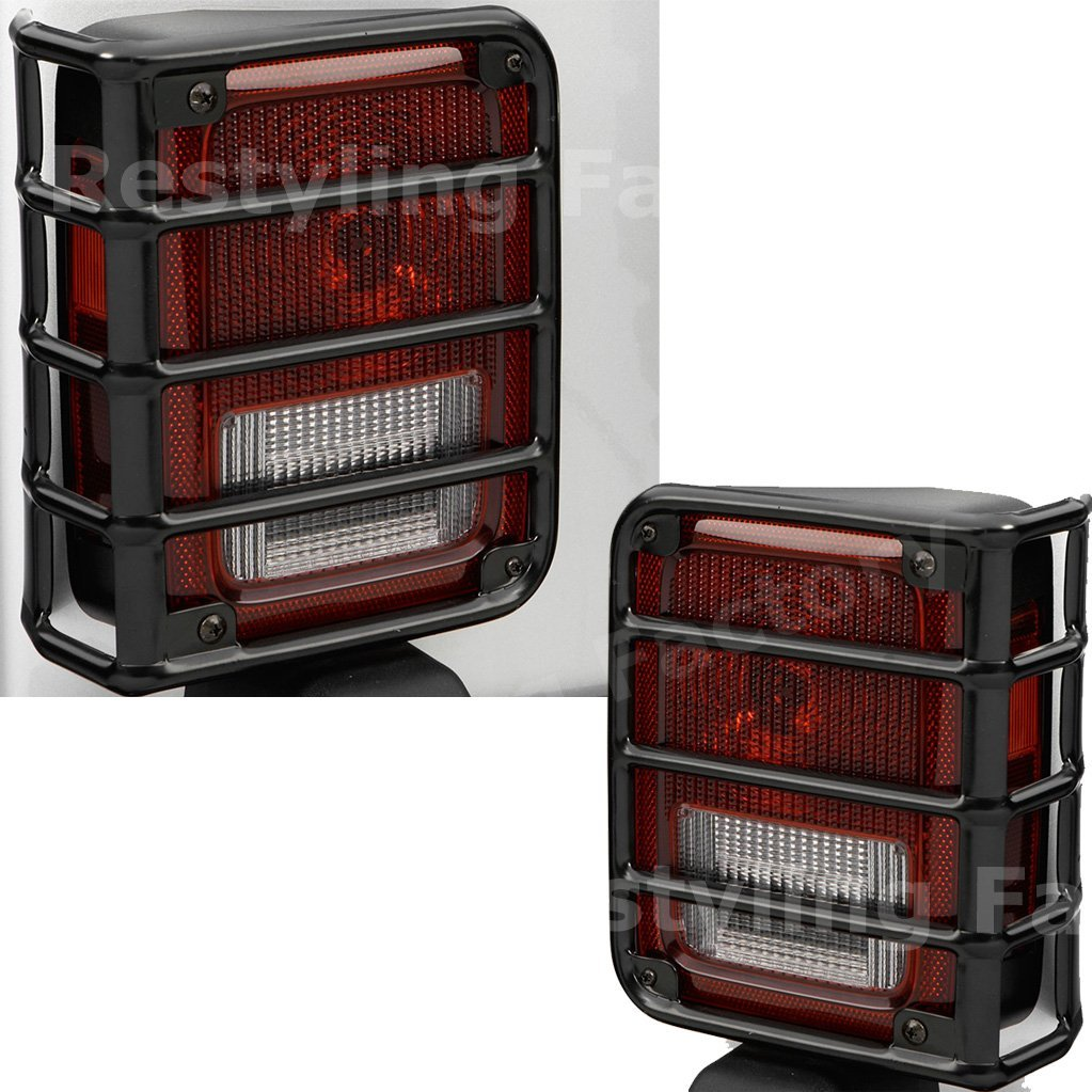 Restyling Factory 07-16 Jeep JK Wrangler Rubicon Gloss Black Metal Euro Tail Light Taillight Lamp Guards Cover (Black)