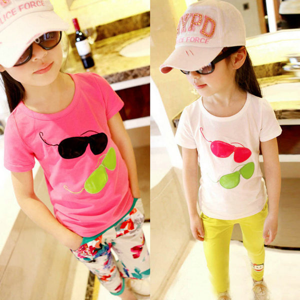 Factory Price Girls Pullover Glasses Pattern Printed T shirt Baby Kids Summer Tee Shirt Tops Clothing