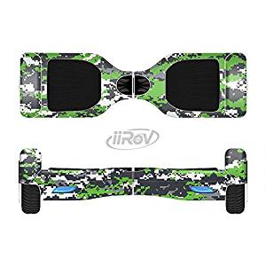The Lime Green and White Digital Camouflage Full-Body Wrap Skin Kit for the iiRov HoverBoards and other Scooter (HOVERBOARD NOT INCLUDED)