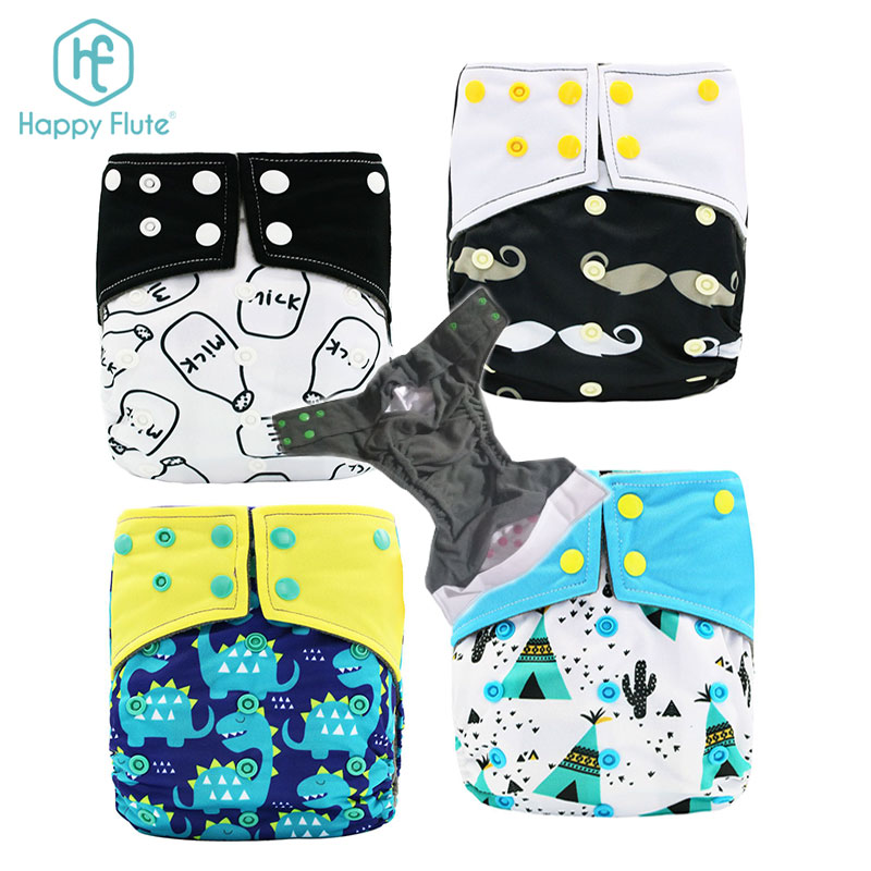 happy flute baby cloth diaper reusable washable pocket nappy Manufacturer Custom print