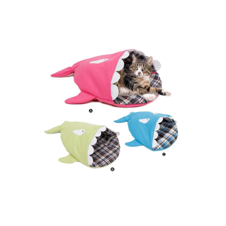 Unique design fashion colored soft shark cat cave bed
