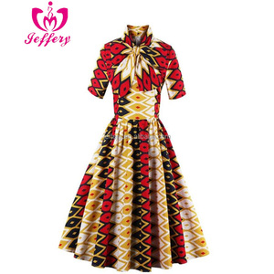 Hot autumn and winter women's retro hit color printing dress factory outlet african cocktail party dress