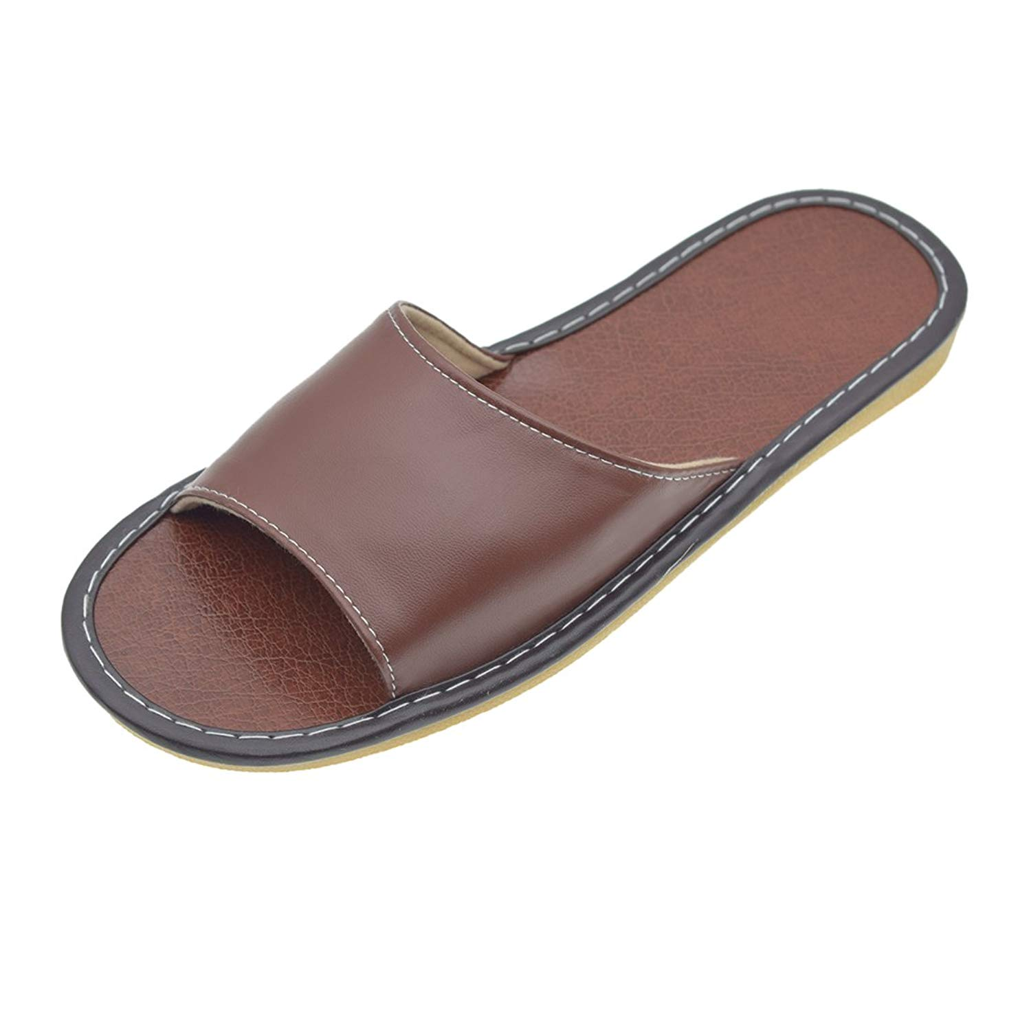 f4e150af7 Get Quotations · Maylian Mens Slippers-Mens House Shoes PU Leather Open Toe  Flats Slippers