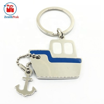 (Ready to ship) Hot Selling Die Cast Boat Shaped Metal Souvenir Keychains