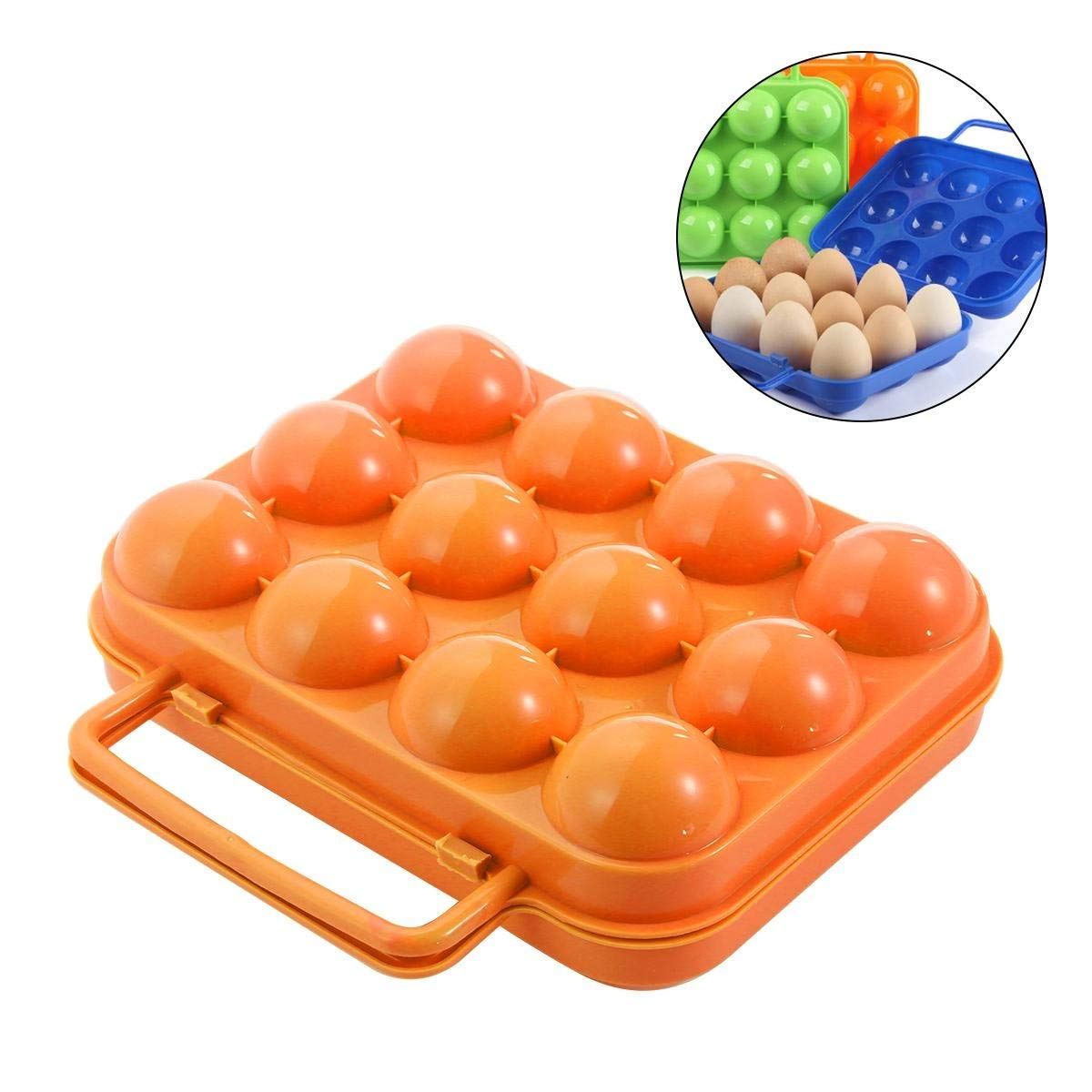 Umiwe Outdoor Egg Storage Box, Portable Egg Case Carrier Holder Folding Plastic Container with Handle for Hiking Camping Picnic