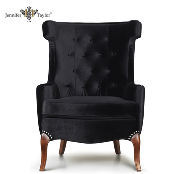 Floor Seat Single Black Velvet Fabric Sofa Chair/ High Back Living Room  Recliner Chair