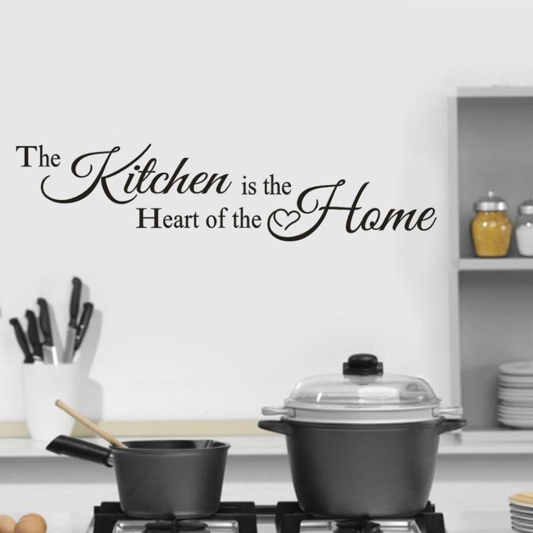 """Wall Sticker For Kitchen,Fheaven 58x13CM """"The Kitchen is the heart"""" The Decor Wall Sticker Decal Bedroom Removable Vinyl Art Mural Gift"""