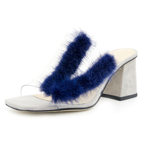 Peep Toe Summer Clean PVC With Fur Femme Heel Chunky Slider Sandal