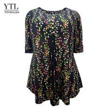 YTL размера плюс женские летние топы цветочный принт Половина рукава Повседневные Блузки женские винтажные кнопки свободная туника рубашка ...(Китай)