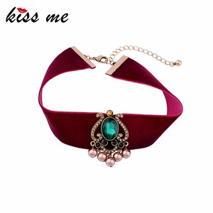 Wide Red Velvet Ribbon Choker 2017 Imitation Pearl Glass Charm Maxi Fashion Statement Jewelry Necklace