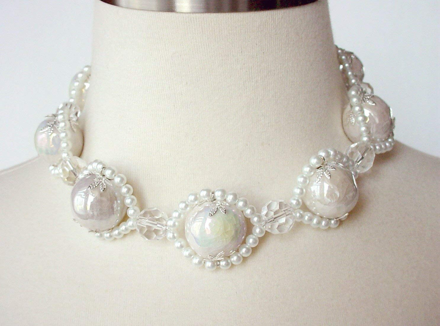 dd398dc53 Get Quotations · White Chunky Choker Necklace, Large Bead Chunky Necklace,  Bridal Statement Necklace, White Pearl
