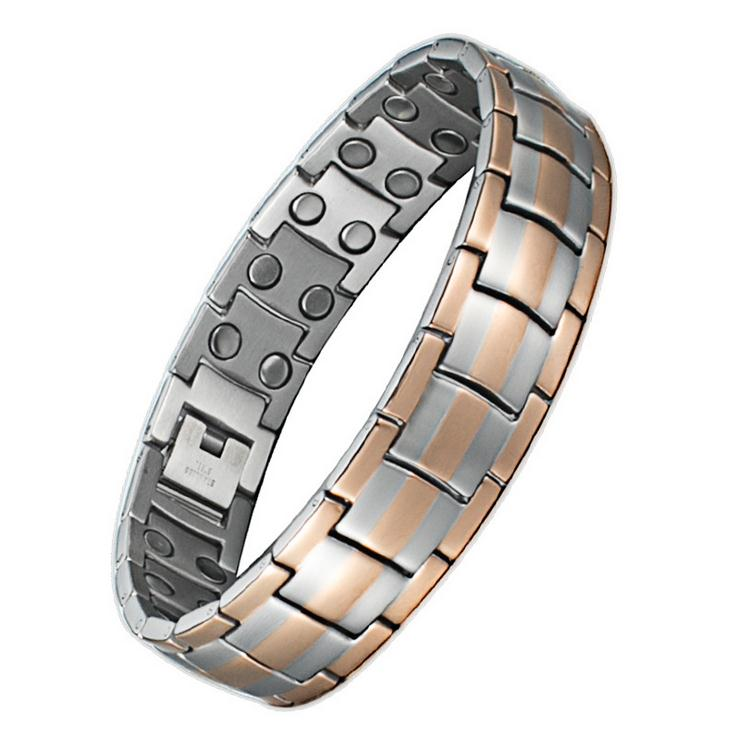 Power Strong Silver Color Men Rare Earth Magnet Bracelet