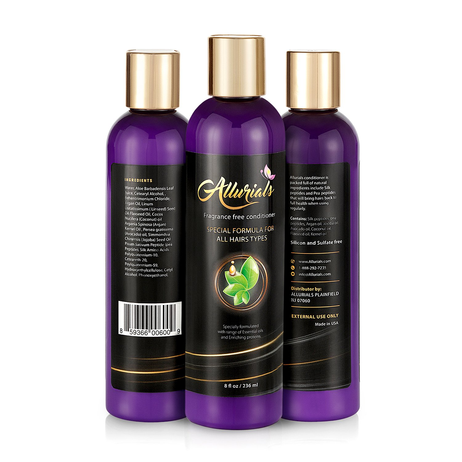 Allurials Fragrance Free Hair Conditioner, Natural Hair Treatment for Dry Damaged and all Hair Types, Safe for Color Treated Hair, Sulfate Free, Silk and Pea Peptides, Argan Jojoba Avocado and Coconut