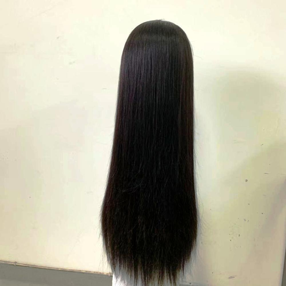 Lace Front Wig Brazilian Human Hair Natural Hair Silky Straight Hand tied 13X6 Swiss Lace Lace Front Wig Natural Black