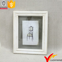 Hand Painted Picture Frame White Wooden with Glass