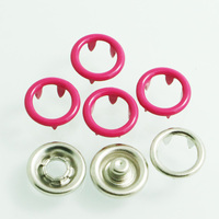 custom metal material DTM color enamel painted brass cap ring prong snap button for baby garments