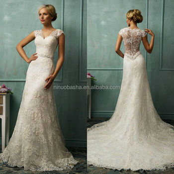 High Quality Lace A Line Wedding Dress V Neck Cap Sleeve See Through Back