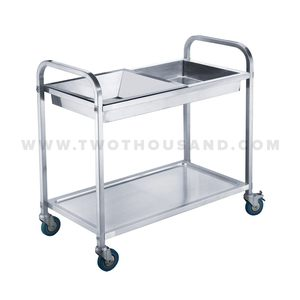 TT-BU110A 2 Shelf Stainless Hotel Food Service Cleaning Trolley Cart