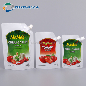 Stand Up Pouch with spout, Metalized Pouch with Spout for Sauce, Custom Designed Chilli Garlic Sauce Packaging Bag with Spout