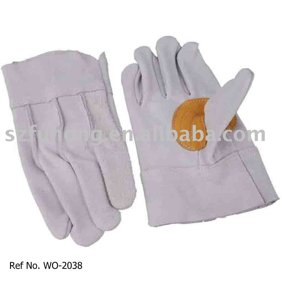 Split cowhide for general work leather rubber gloves