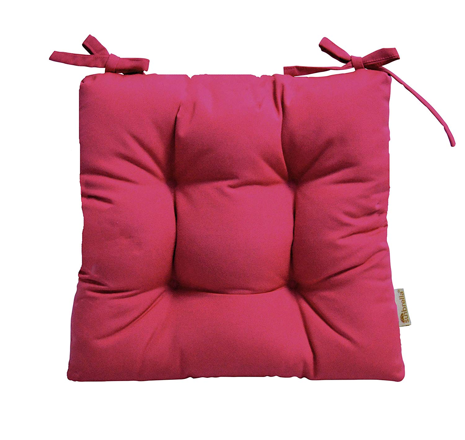 """RSH Décor Indoor/Outdoor Sunbrella Canvas Hot Pink Tufted Seat Cushion with Ties for Dining/Patio Chairs - Choose Size (18"""" x 18"""")"""