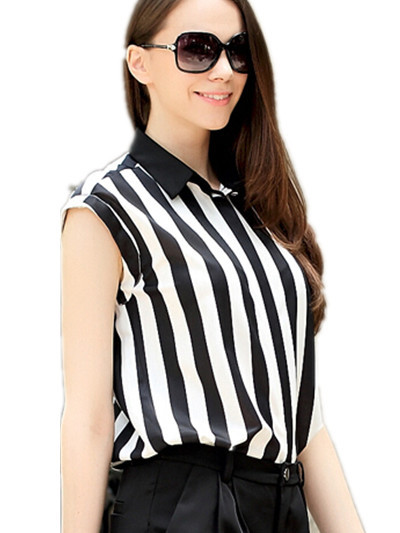 Free Shipping  2015 Europe plus size new summer slim stripes lapel sleeveless shirts,women chiffon blouse :  XL 2XL 3XL 4XL 5XL