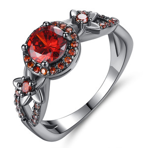 Black Gold Gun Color Plated Round Cut Ruby Red Flower Cubic Zirconia Ring Women Birthstone CZ Wedding Ring for Women