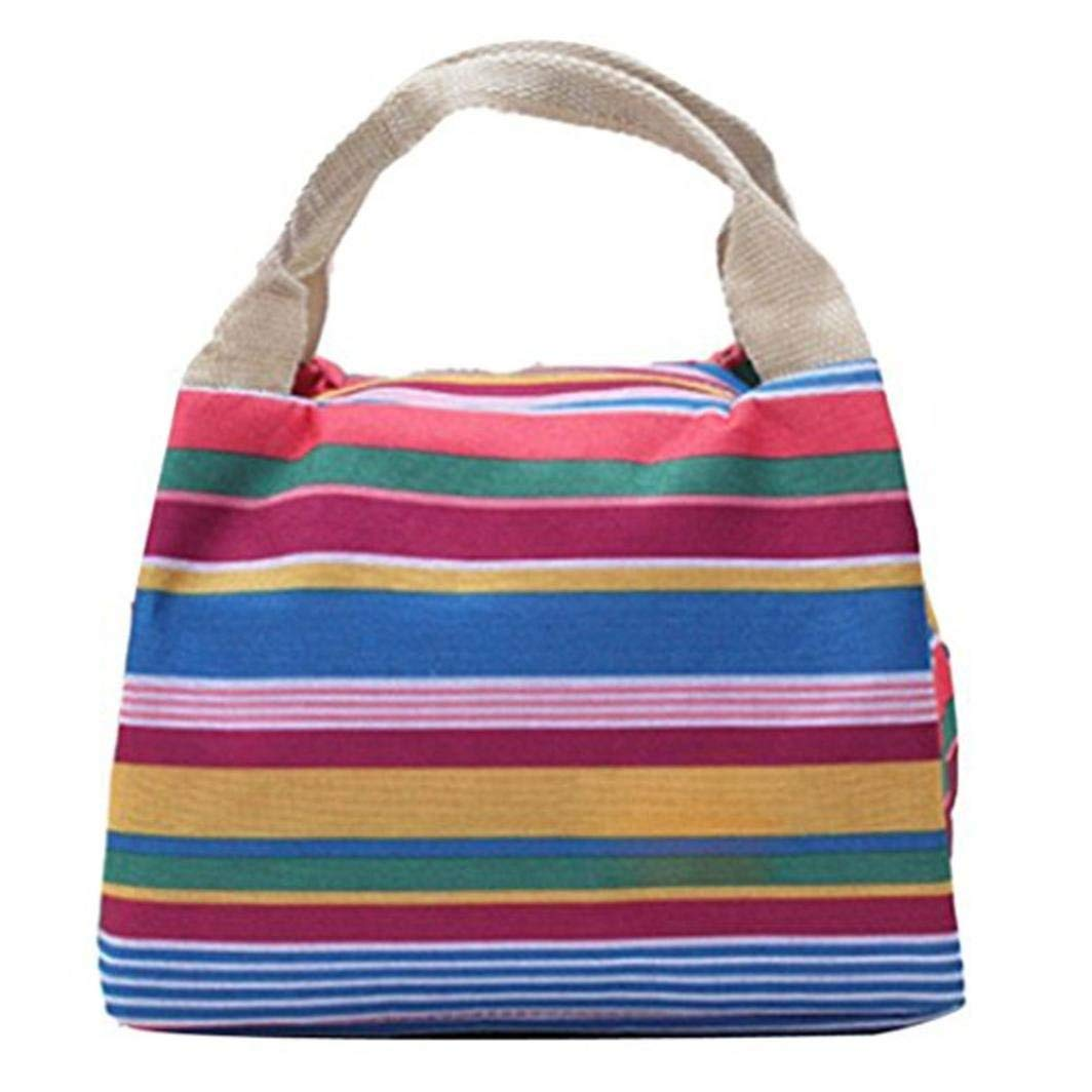 Thermal Insulated Lunch Bag Striped Tote Cooler Zipper Bento Pouch Waterproof