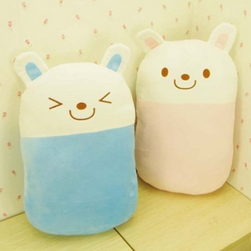 smiling face dreamy rabbit cushion rectangle shaped prone pillow stuffed animals plush toy