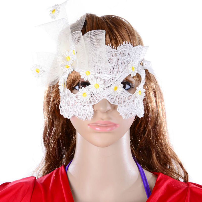 ACEMIR Charm Women White Lace Mask Gothnic Fashion Statement Party Mask Pretty Girl Birthday Party Mask Sexy Women Mask 5044