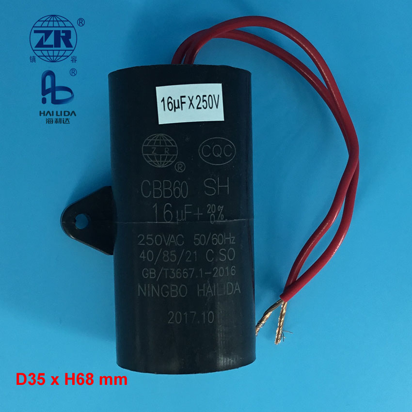 Cbb60 16uf 250v Capacitor With Wire For Motor 25/85/21 - Buy Cbb60 ...