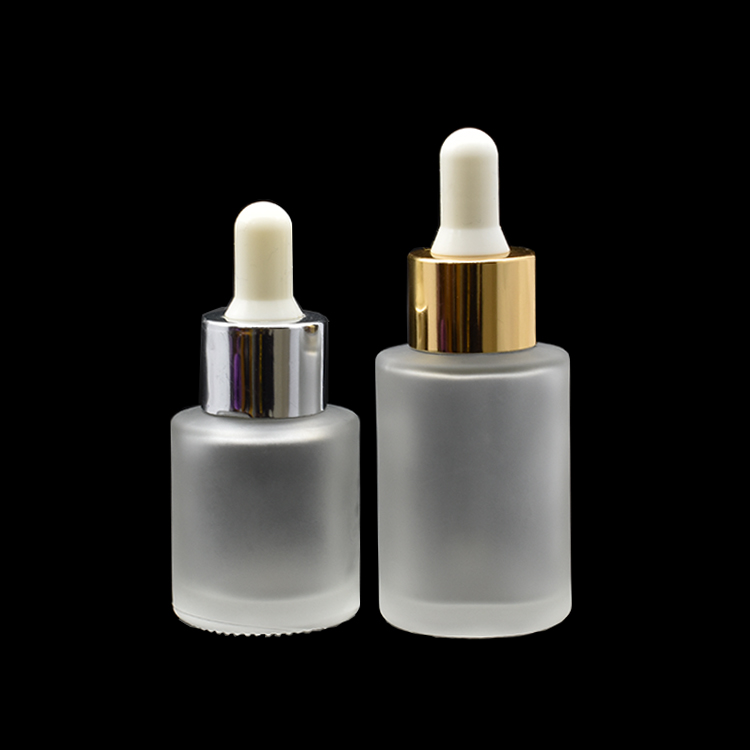 matt cosmetic 10ml 20ml 50ml 30ml flat shoulder frosted clear glass dropper bottle for essential oil