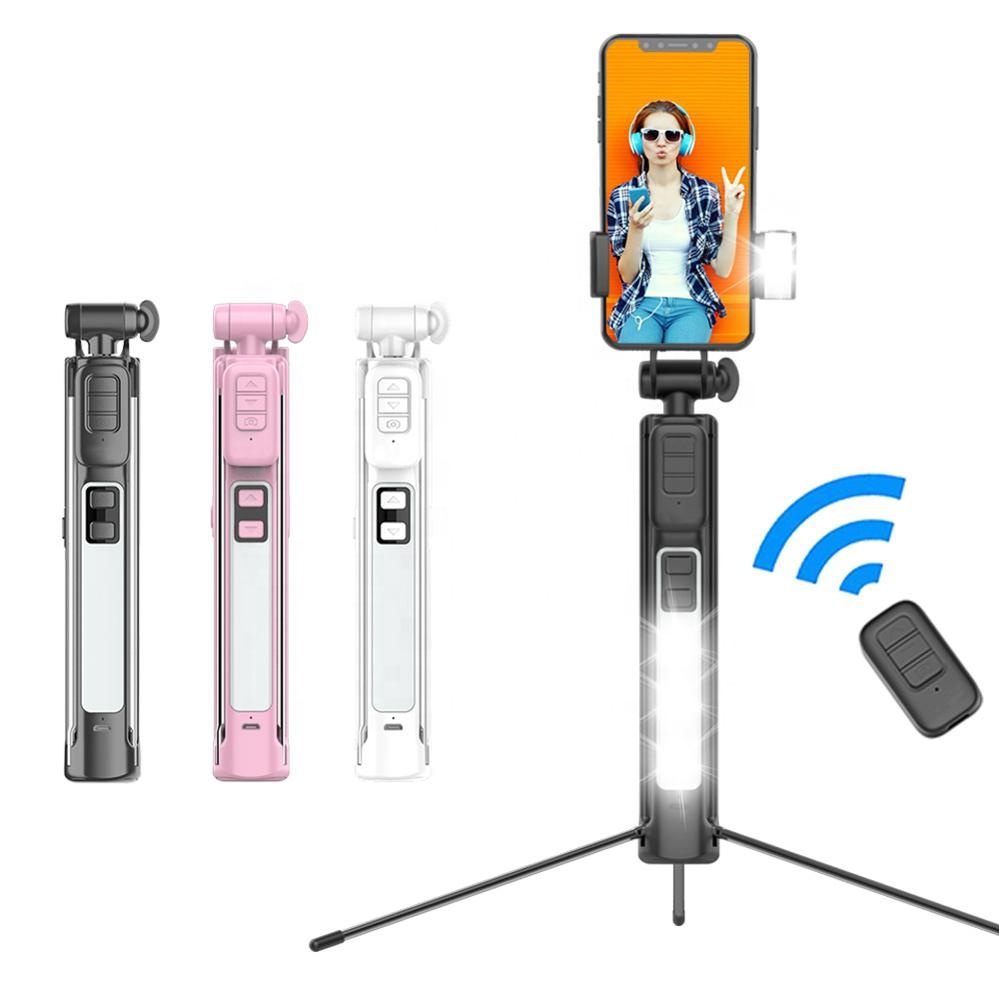 Selfie Stick Bluetooth 4 in 1 Selfie Stick mit LED Licht, Stativ Eingebaute Fernauslöser für Android iPhone